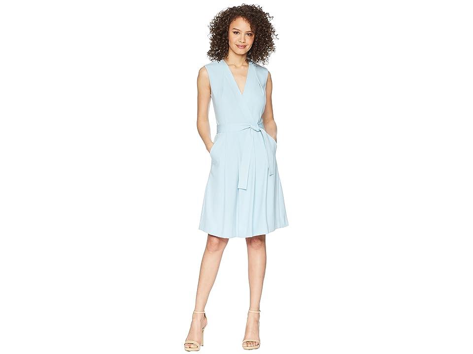 Tahari by ASL Faux Wrap Dress (Sky Blue) Women