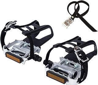 comprar comparacion COZYROOMY Pedales de Bicicleta, Pedal híbrido con Jaula y cinturón, Adecuado Bicicleta estática Fitness, Bici Spinning y T...