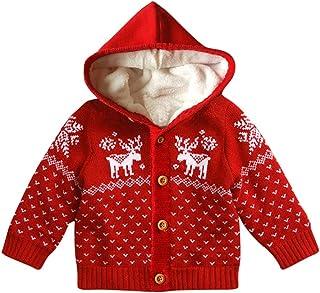(プタス)Putars ベビー服 子供服 コート ニット 男の子 女の子 二色 クリスマス 鹿柄 裏起毛 防寒 冬服 可愛い 記念日 プレゼント 2-5歳