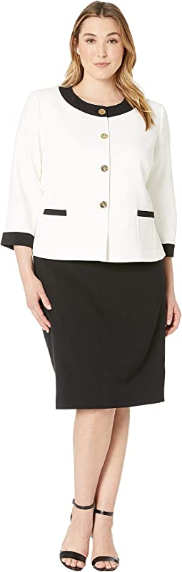 Plus Size Crepe Framed Skirt Suit with Gold Finish