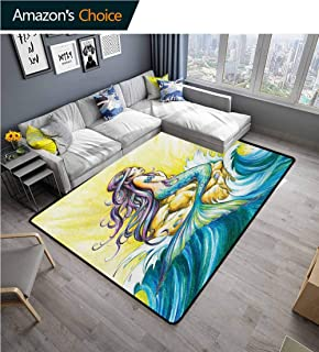 Mermaid Print Area Rug Underlay, Magical Mermaid Sitting on Rock Sunny Day Colored Pencil Drawing Effect Durable Rugs - Living, Dinning, Office, Rooms & Bedrrom, Hallway Carpet, (5'x 8')