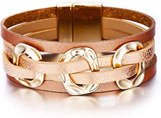 Multi-Layer Leather Bracelet - Braided Wrap Cuff Bangle - with Alloy Magnetic Clasp Handmade Jewelry for Women,Girl Gift