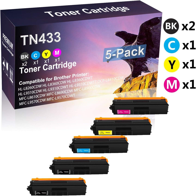 5-Pack (2BK+C+Y+M) Compatible High Yield TN433 Toner Cartridge use for Brother HL-L8260CDW HL-L8360CDW HL-L8360CDWT Printer