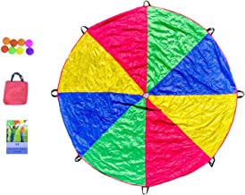 Parachute Toy Set - Parachute with 8 Handles, Play Balls, Book of 59 Games and Travel Bag - Great and Fun Party Games for Kids