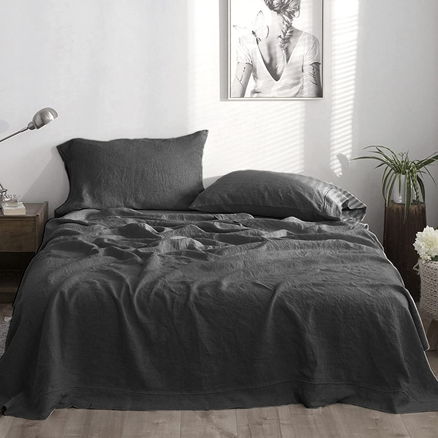 Simple&Opulence 100% Linen Sheet Set with Embroidery Washed - 4 Pieces (1 Flat Sheet & 1 Fitted Sheet & 2 Pillowcases) Natural Flax Soft Bedding Breathable Farmhouse - Dark Grey, King Size : Everything Else