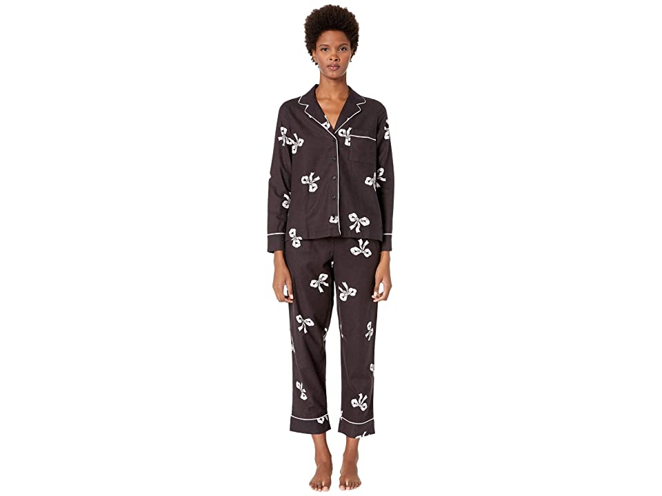 Kate Spade New York Brushed Twill Long Pajama Set (Bows) Women