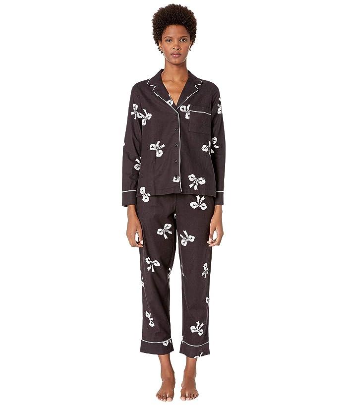 Kate Spade New York Brushed Twill Long Pajama Set (Bows) Women