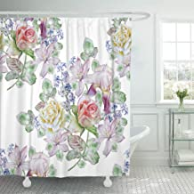Jszna Shower Curtain Colorful Beautiful Spring Flowers Rose Iris Hyacinth Clematis Watercolor Shower Curtains Sets with 12 Hooks 60 x 72 Inches Waterproof Polyester Fabric