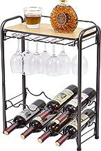 Kingrack Wijnrek voor 8 flessen, metalen wijnrek met brillenhouder en wijnhouder en tafelblad, 4 verdiepingen, vrijstaande...