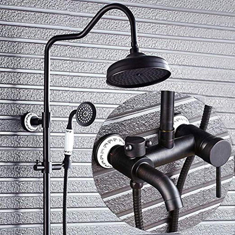 Cxmm Bad Dusche Schwarz hhenverstellbar Messing Retro Europischen Duschbrause Wasserhahn Set