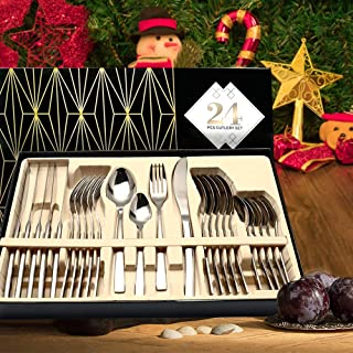 Silverware Set, HOBO 24 Pieces Flatware Cutlery Set, Japan Stainless Steel Dinnerware Set,Tableware Set Service for 6, Include Knife/Fork/Spoon Set with Gift Box (Sliver)