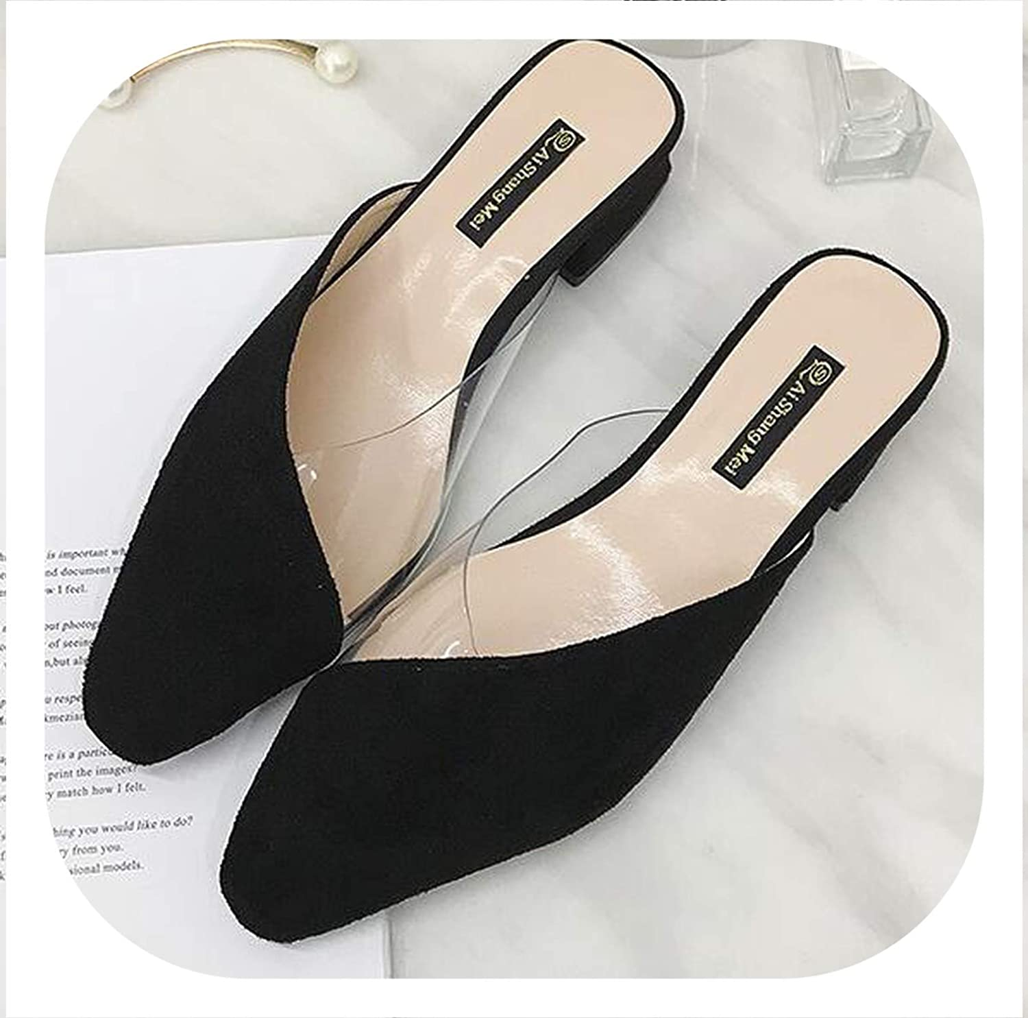 HANBINGPO Women Square Med Heels Slip On Pumps Pointed Toe Slippers 2019 Summer Leopard Casual shoes