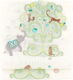 (ソウビエン) 【未仕立て】名古屋帯 織紫苑謹製 白 ホワイト 黄緑色 木 象 ゾウ リス 猿 サル 動物 絽 正絹 六通柄 京都西陣織 2530 九寸名古屋帯 なごや帯 反物 夏向け カジュアル 日本製