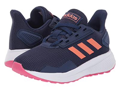 adidas Kids Duramo 9 (Little Kid/Big Kid) (Dark Blue/Coral/Real Pink) Girl