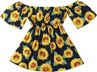 Emmababy Vestido de Fiesta con Estampado de Girasoles para Bebés y Niñas, con Falda Larga