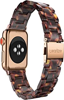Wearlizer Tortoise Lightweight Resin Compatible with Apple Watch Band 38mm 40mm for iWatch Womens Mens Sport Replacement Leisure Strap Wristband Bracelet (Copper Gold Metal Clasp) Series 5 4 3 2 1
