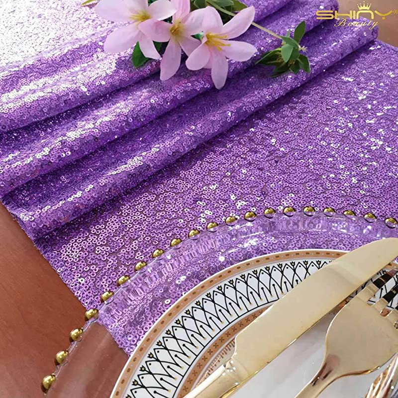 Lavender Table Cover Lavender 14x72 Inch Sequin Table Runners Graduation Party Supplies 2019 0114E