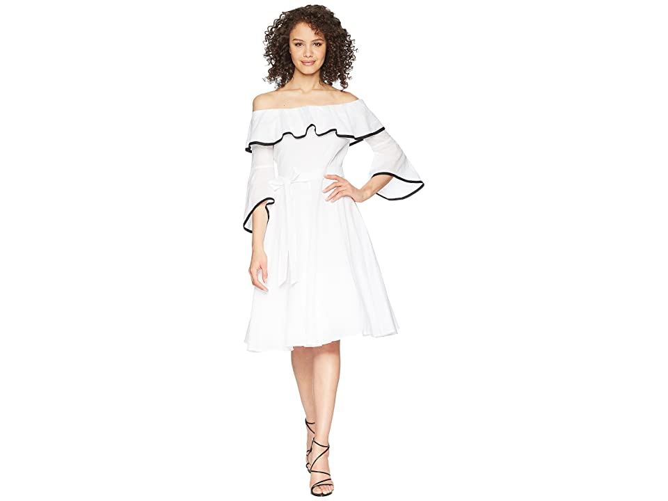 Calvin Klein Off Shoulder with Piping A-line Dress CD8G12HC (White/Black) Women