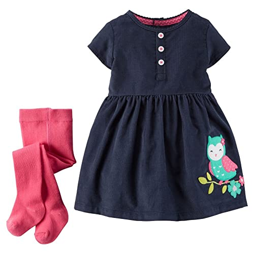Carters Baby Girls 2-Piece Dress & Tights Set Navy Owl 3M
