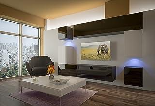 Home Direct PRAG N5, Modernes Wohnzimmer, Wohnwände, Wohnschränke, Schrankwand (Schwarz und Weiß Matt Base/Schwarz und Weiß HG Front (HG23), Möbel)