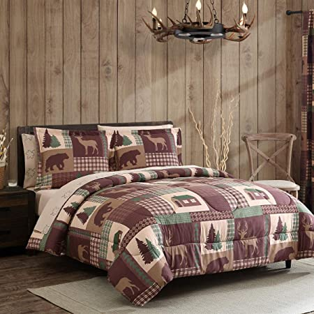 7-Piece Rustic Cabin King Comforter Bed in a Bag Bedding Set with Deep Pocket Sheets, Bear Deer Lodge Brown Green