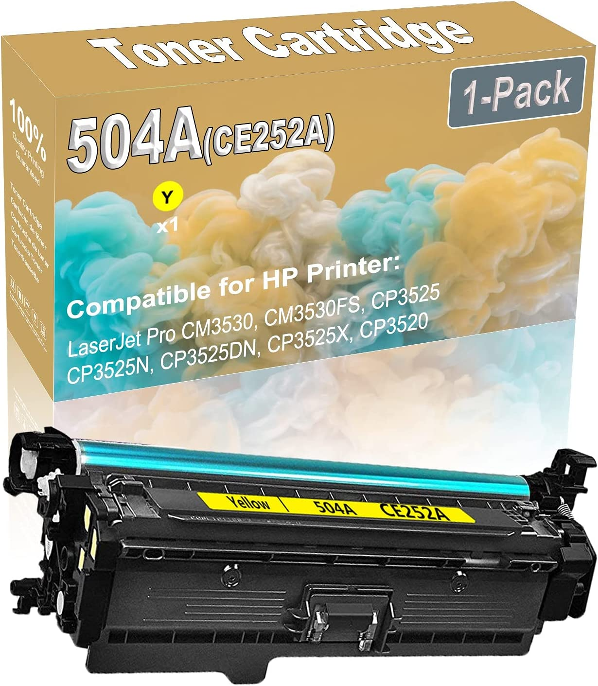 1-Pack (Yellow) Compatible CM3530 CM3530FS Laser Printer Toner Cartridge (High Capacity) Replacement for HP 504A (CE252A) Printer Toner Cartridge