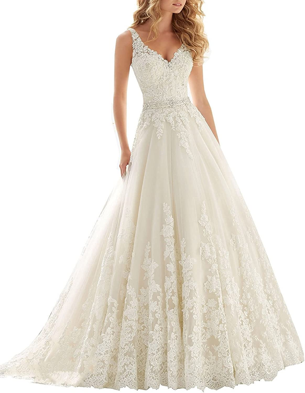 Weddinglee Wedding Dresses for Bride Double VNeck Lace Applique Empire Chapel Train Wedding Dress