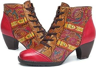 SOCOFY Chaussures en cuir avec bride à la cheville à bout rond Chaussures décontractées