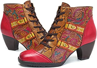 socofy Ankle Booties,Bohemian Splicing Flower Pattern Lace Up Zipper Block Heel Leather Outdoor Boots