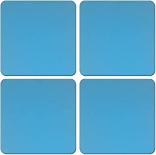 CARIBOU Coasters CB-SQNC-SBCST0002-4-A3452, Solid Baby Blue Design Absorbent Square Fabric Felt Neoprene Coasters for Drin...