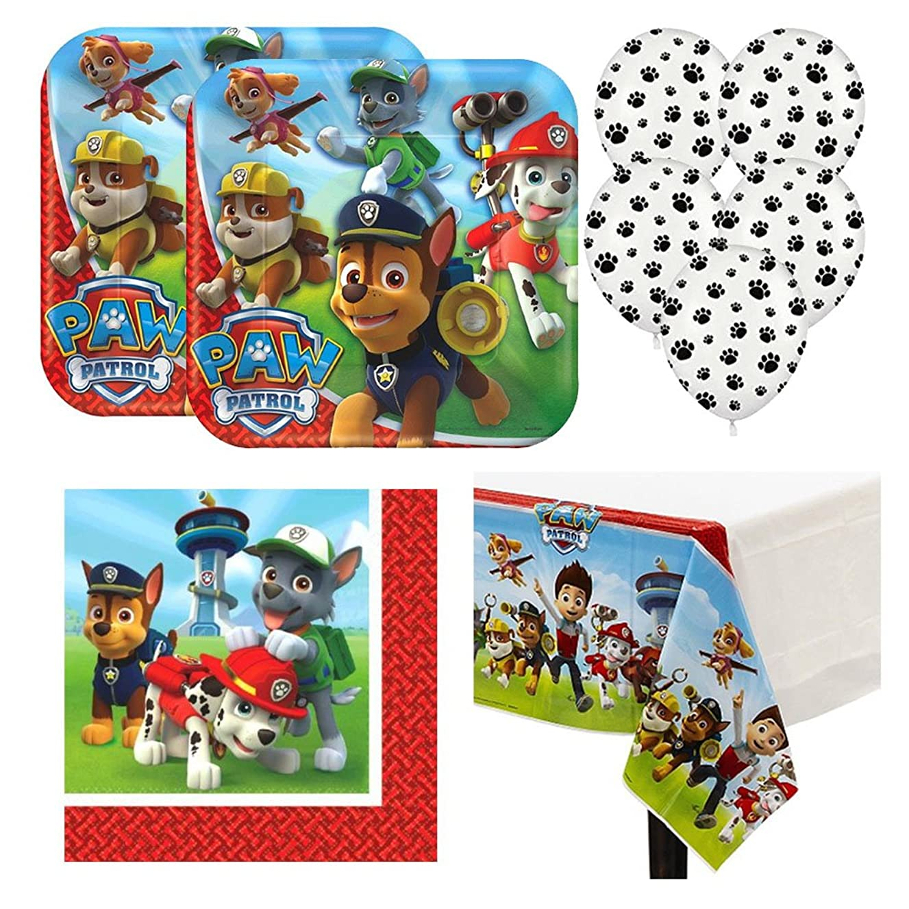 Paw Patrol Birthday Party Pack, 16 guests, lunch plates, napkins, tablecover plus paw prints balloons