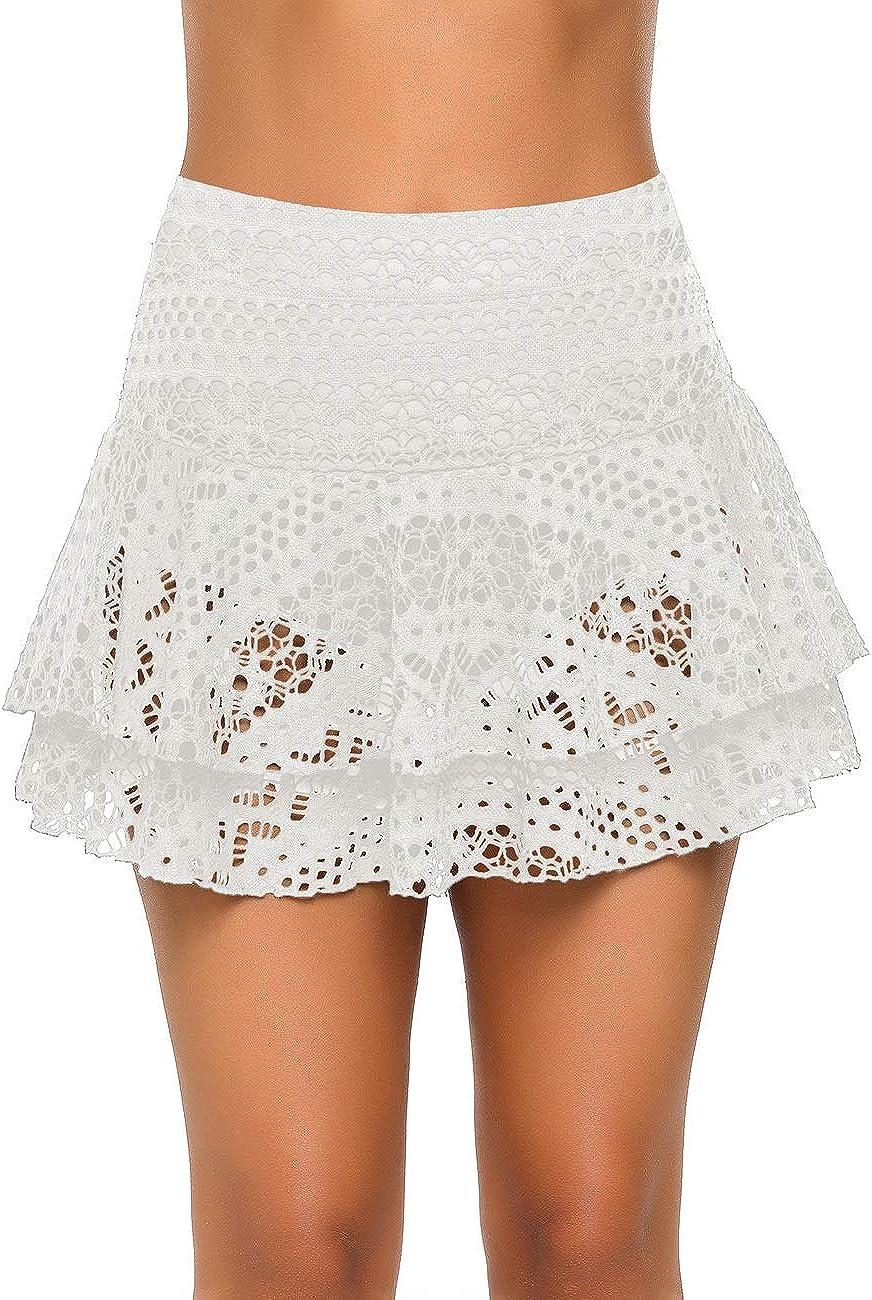 luvamia Women's High Waist Ruched Swim Skirt Tiered Ruffle Swimsuit Bikini Bottom