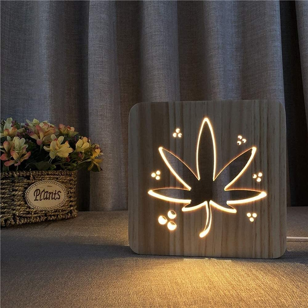 Washington Mall OFFicial mail order ANBF Bedside Lamp Leaf Creative Nig Table Decorative Wooden