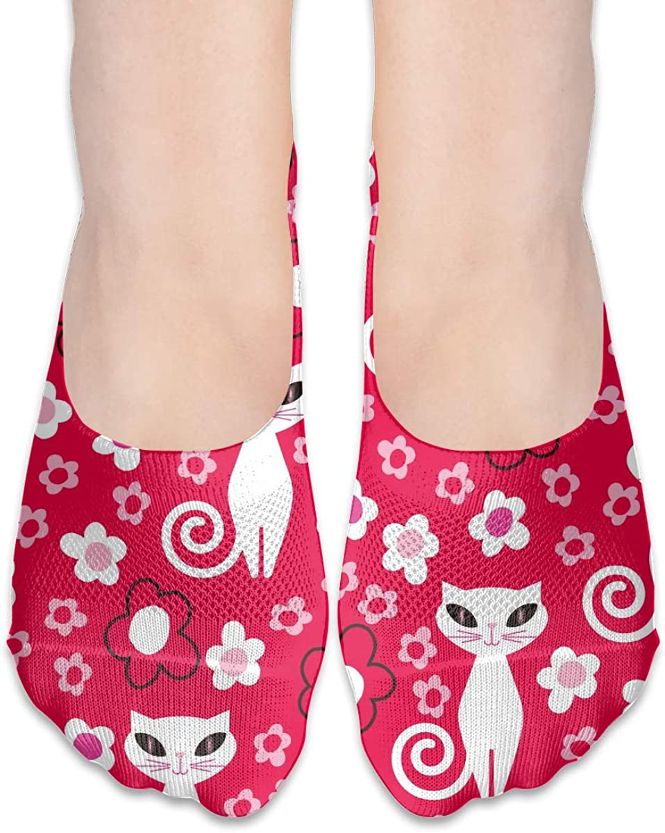 No Show Socks Women Men For Red Flower White Cat Flats Cotton Ultra Low Cut Liner Socks Non Slip