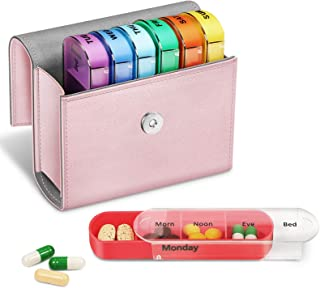 FINPAC Weekly Pill Organizers 4 Times A Day, Slide Open PU Leather Case Travel Pill Vitamin Medicine Reminder and Planner ...