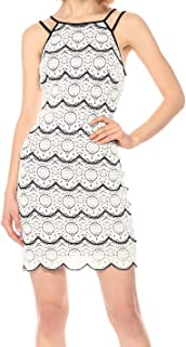 GUESS Women's Black and White Lace Dress