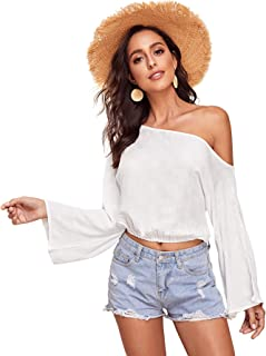 Women's Off The Shoulder Bell Sleeve Flared Tops Long Sleeve Crop Top Blouse