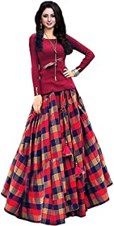dcd8315433 HB shopping Women's bangalori satin Long Skirt Gown And Top (red_01_red_  Free Size)