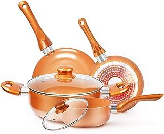 cookware-set nonstick pots and pans-set copper pan - kutime 6pcs cookware set non-stick frying pan ceramic coating stockpot, cooking pot, copper aluminum pan with lid, gas induction compatible