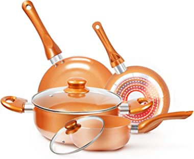Cookware-Set Nonstick Pots and Pans-Set Copper Pan - KUTIME 6pcs Cookware Set Non-stick Frying Pan Ceramic Coating Stockpot,