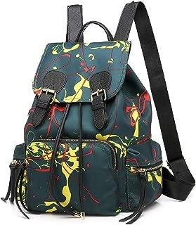 Daypacks Women Backpack Purse Waterproof Nylon Lady Travel Bag Schoolbags Anti-Theft Rucksack Shoulder Bags Large Backpack (Color : Green)