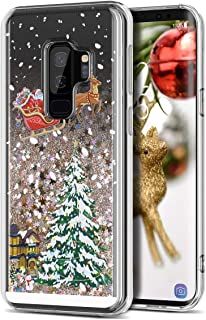 Galaxy S9 Plus Case, CinoCase 3D Liquid Case [Christmas Collection] Flowing Quicksand Moving Stars Bling Glitter Snowflake Christmas Tree Santa Claus Pattern Soft TPU Case for Samsung Galaxy S9 Plus