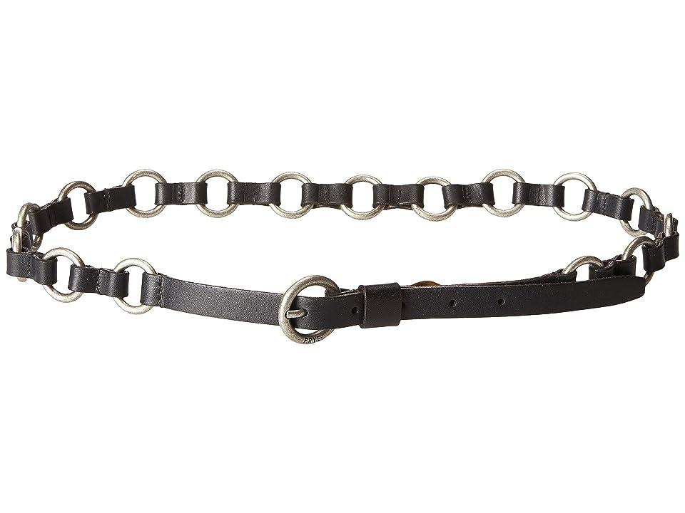 Frye 13mm Leather and Metal Ring Belt on Logo Harness Buckle (Black/Antique Nickel) Women