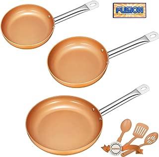 Deik Frying Pan Set, Non-Stick Ceramic Coated Copper Set 8