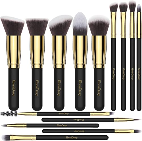 EmaxDesign Makeup Brushes 14 Pieces Professional Makeup Brush Set Synthetic Foundation Blending Concealer Eye Face Li...