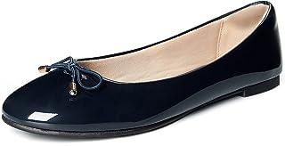 WFL جولة اصبع القدم النساء شقق الانزلاق على أحذية الباليه المسطحة لينة البحرية