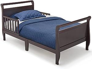 Delta Children Contemporary Wood Sleigh Toddler Bed, Black Cherry Espresso