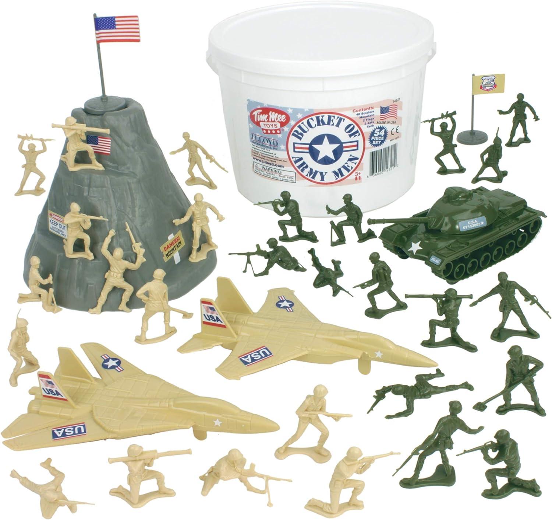 tienda de pescado para la venta TimMee BUCKET of ARMY MEN  Tan Tan Tan vs verde 54pc Soldier Jugarset - Made in USA by Tim Mee  Envío 100% gratuito