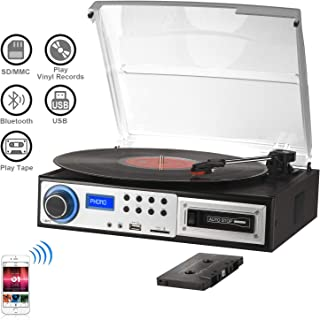 Belt-Drive 2-Speed Turntable with Built in Stereo Speaker Record Player Pink MPK Portable Mini Suitcase Turntable for 7 Inch Vinyl Record