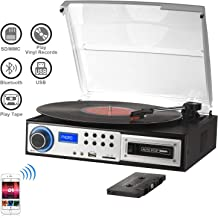 Bluetooth Record Player 3 speeds with Stereo Speakers, Turntable for Vinyl to MP3 with Cassette Play, USB/SD Encoding, 3.5mm Music Output Jack